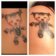 Tattoos By Advance - Fixed up my first tattoo added some extra color to her hair ties and buttons and changes her roses from black to red! - Fremont, CA, Vereinigte Staaten