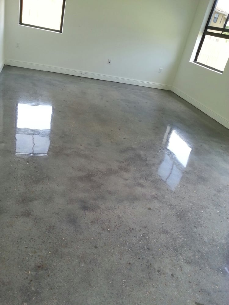 Home with gray dyed polished concrete yelp for Perfect concrete floors