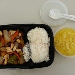 Asian Wok - Kung Pao Beef with egg drop soup togo. - La Porte, TX, Vereinigte Staaten