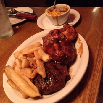 Texas Roadhouse - Sirloin steak and chicken combo with fries and chili ...