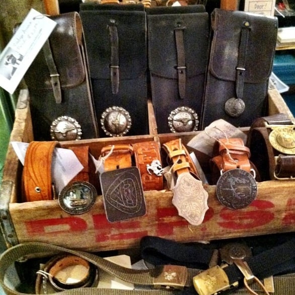 Leather belts and repurposed leather pouches from bad Repurposed leather belts