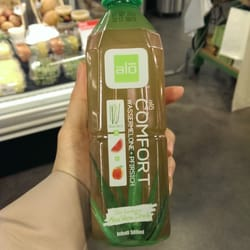 Tried the watermelon and peach flavored aloe vera drink today.  Very yummy and on sale for CHF 1.80!