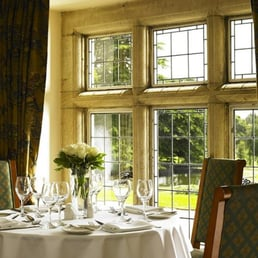 Priory Restaurant overlooking the gardens.