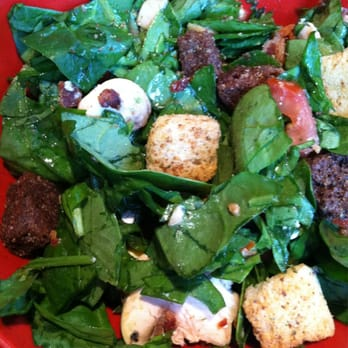 Crushed Red - Created my own chopped spinach salad with egg, tomato ...