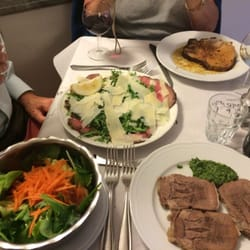 Lingua with fresh green sauce, rare roast beef with arugula & parmigiana, roasted pork with garlic and rosemary & a mixed salad