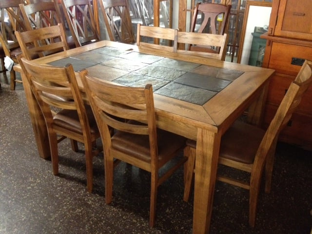 Rustic Oak with Slate top dining set