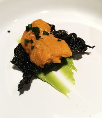 Uni on squid ink cracker - drool...