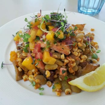 ... salsa, roasted sweet potatoes, and Lima bean-corn succotash. Perfect