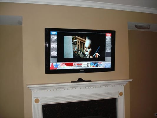 TV Mount OVer Fireplace With Hidden Wires Yelp