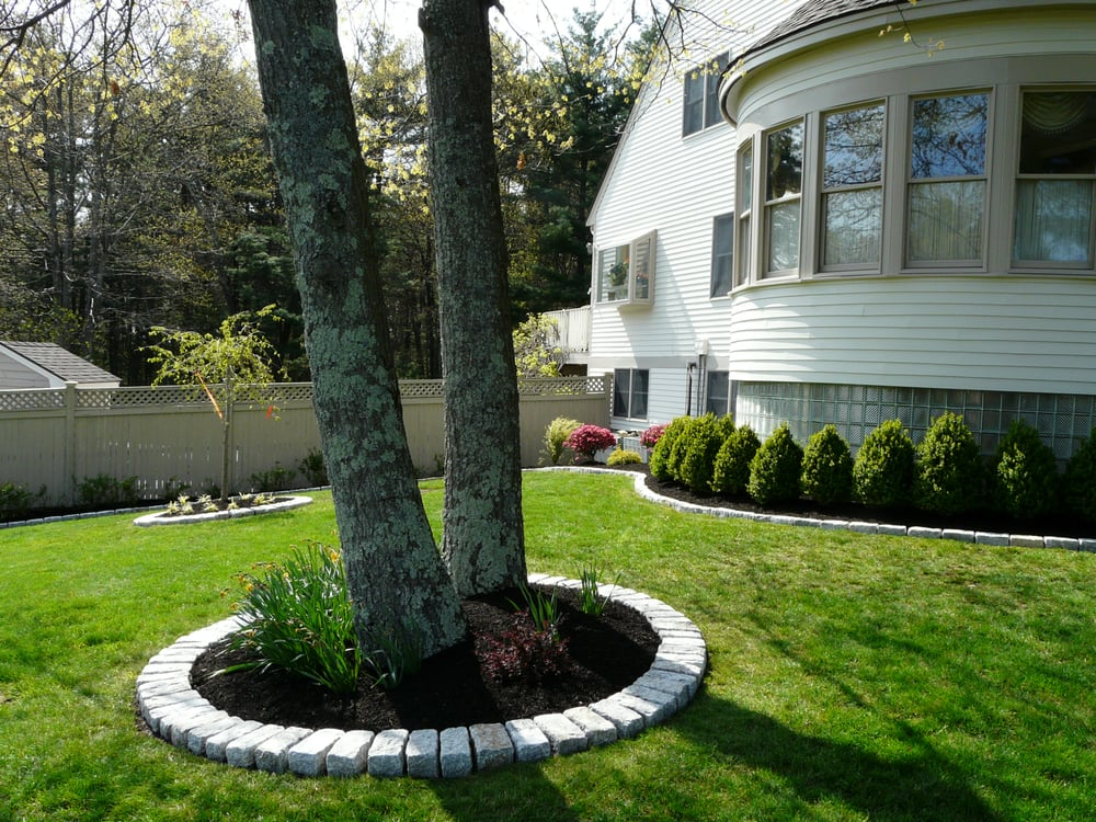 Jumbo cobblestone border around tree installed by done - Landscaping around a tree ...