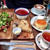 Beetroot Thai spiced soup, salmon and scones of course!