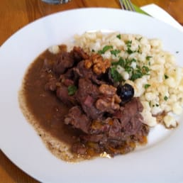 Wild boar stew with Spätzle (a type of pasta)