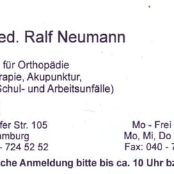 Dr. med. Ralf Neumann Facharzt für Orthopädie Chirotherapie, Hamburg