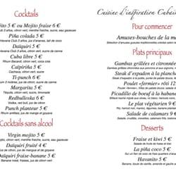 Le Salsa Café - Paris, France. menu