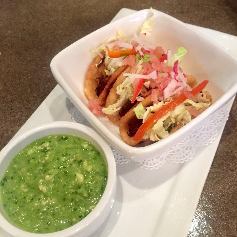 ... Tacos Dorados de Papa crispy potato tacos with avocado tomatillo salsa