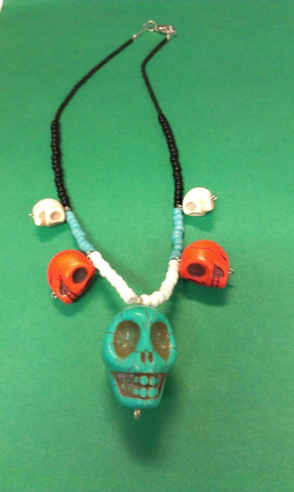 Necklace my kid made with the cool skull beads she bought at Alley ...