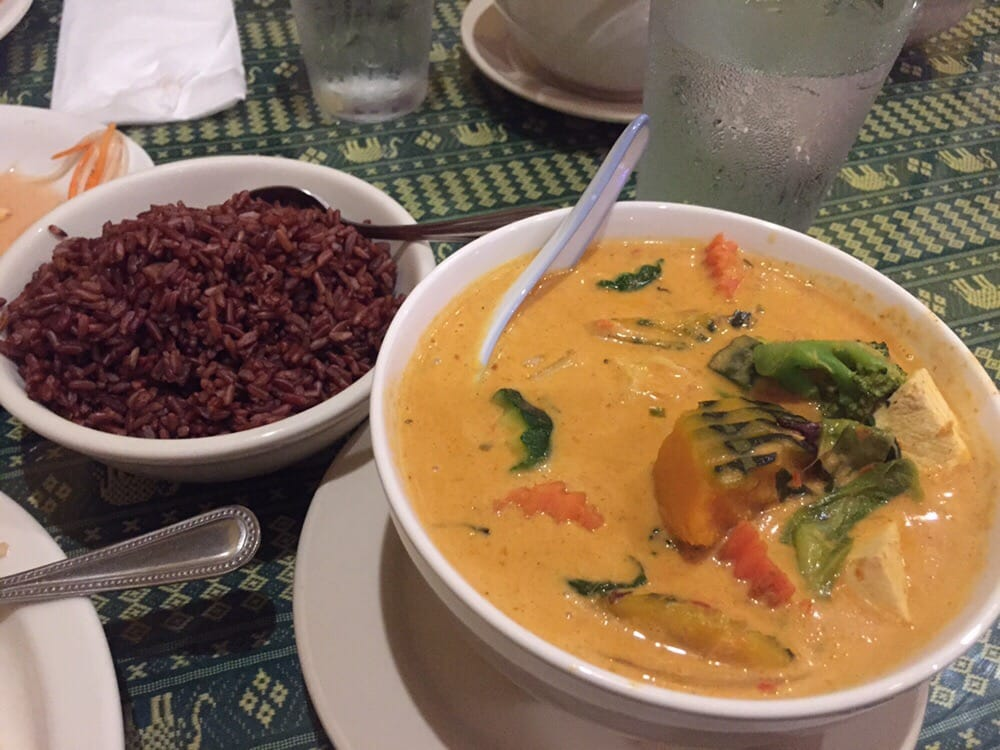 Naung Mai Thai Kitchen - Hilo, HI, United States. Pumpkin curry with tofu and brown rice. Yum!! Thai level hot!