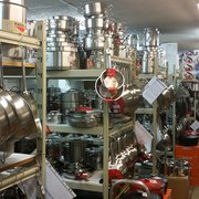 Lots of stainless steel pans and pots to…