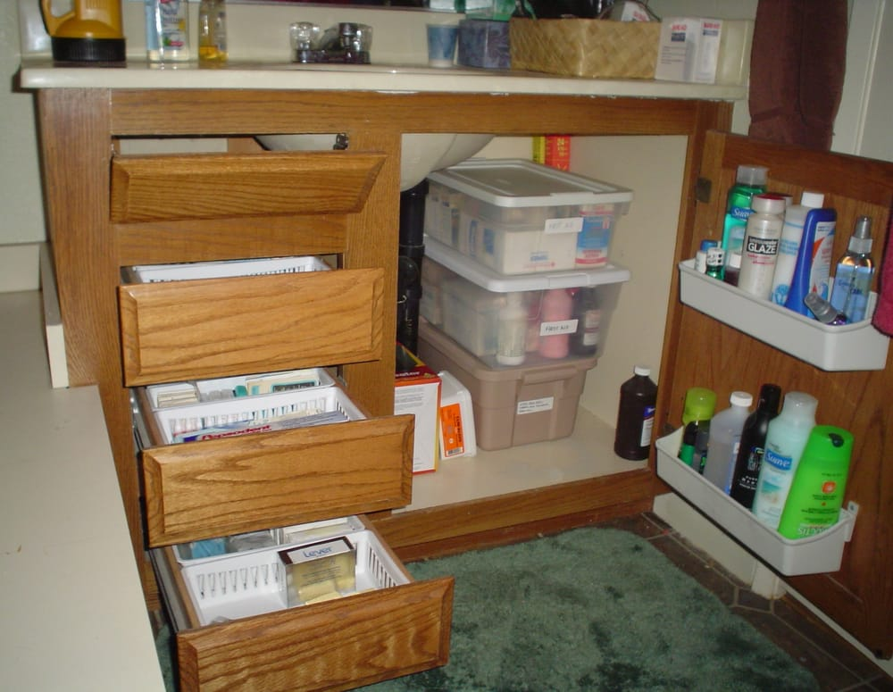 Organized bathroom cabinets and drawers yelp for Bathroom cabinets yelp