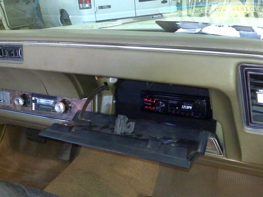 Stereo In Stalled In The Glovebox Of A 1970 Cutlass