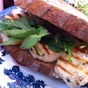 My Mum loved her grilled holloumi, rocket and tomato chutney sarnie on homemade bread. Very tasty!