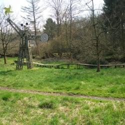 Ein Steg führt über das Feuchtgebiet