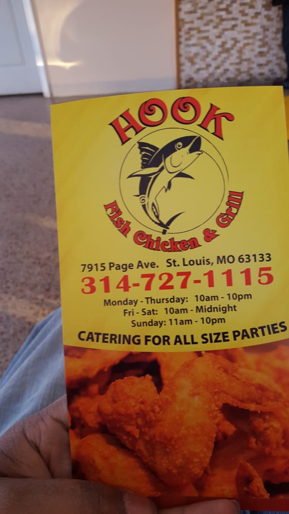 for Hooks fish and chicken menu