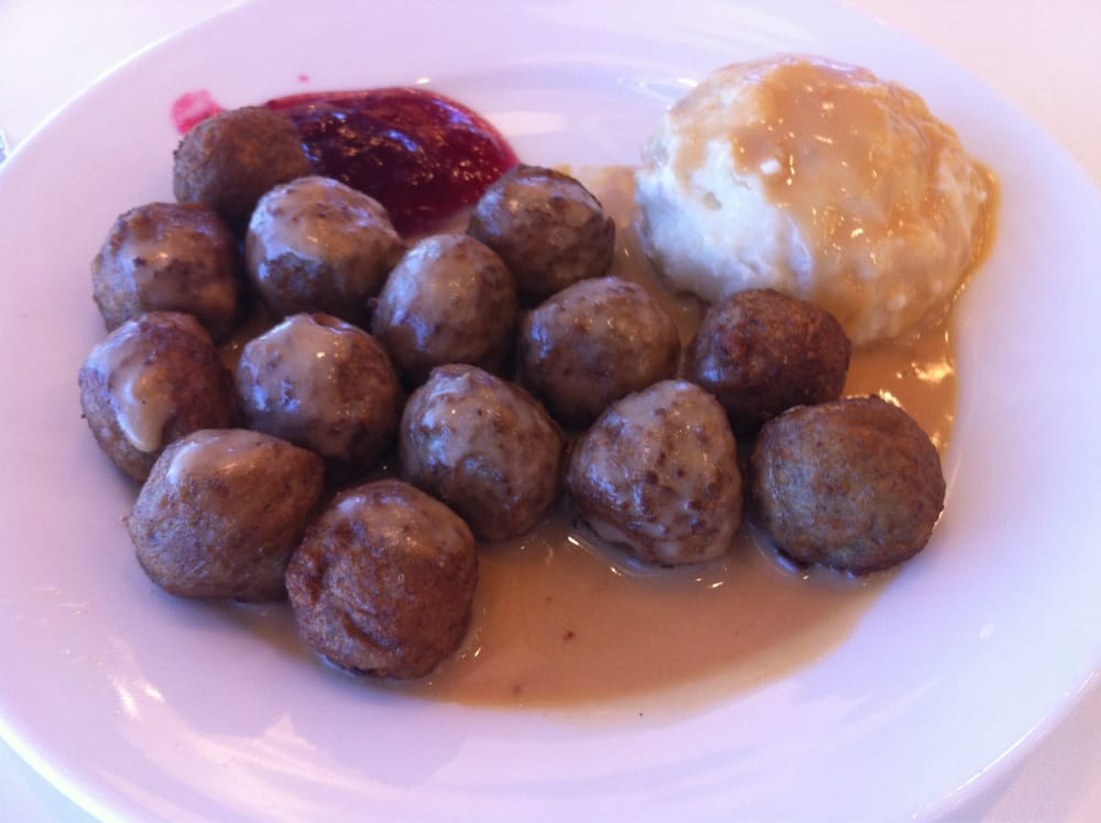 ... . Swedish Meatballs with Mashed Potatoes, Gravy and Lingonberry Jam