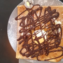 Nutella crepe with ice cream & bananas.