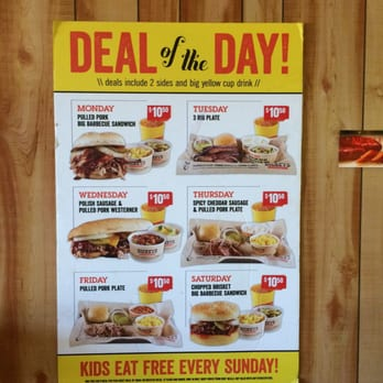 Dickey's BBQ has a Deal of the Day every day at many downloadfastkeysah.ga deals include two sides & a Big Yellow Cup and are priced at about $ To find out if your local Dickey's has the Deal of the Day, look for a poster in the restaurant or ask your server.