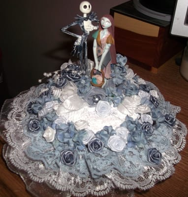 Nightmare before christmas and corpse bride wedding cake toppers
