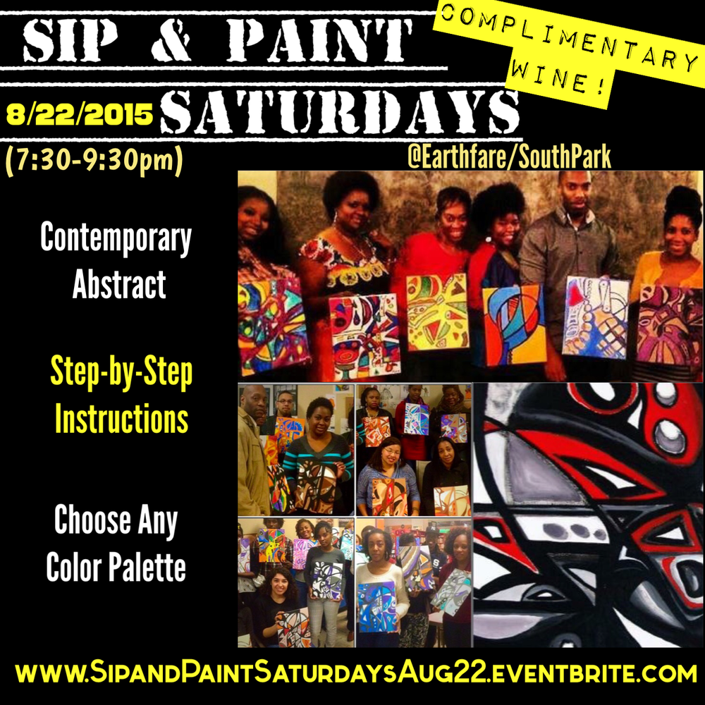 Sip and paint saturdays lesson contemporary abstract for Sip and paint charlotte nc