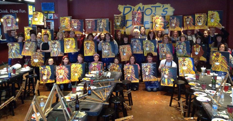 Paint drink have fun paint roar chesterfield for Wine and paint st louis