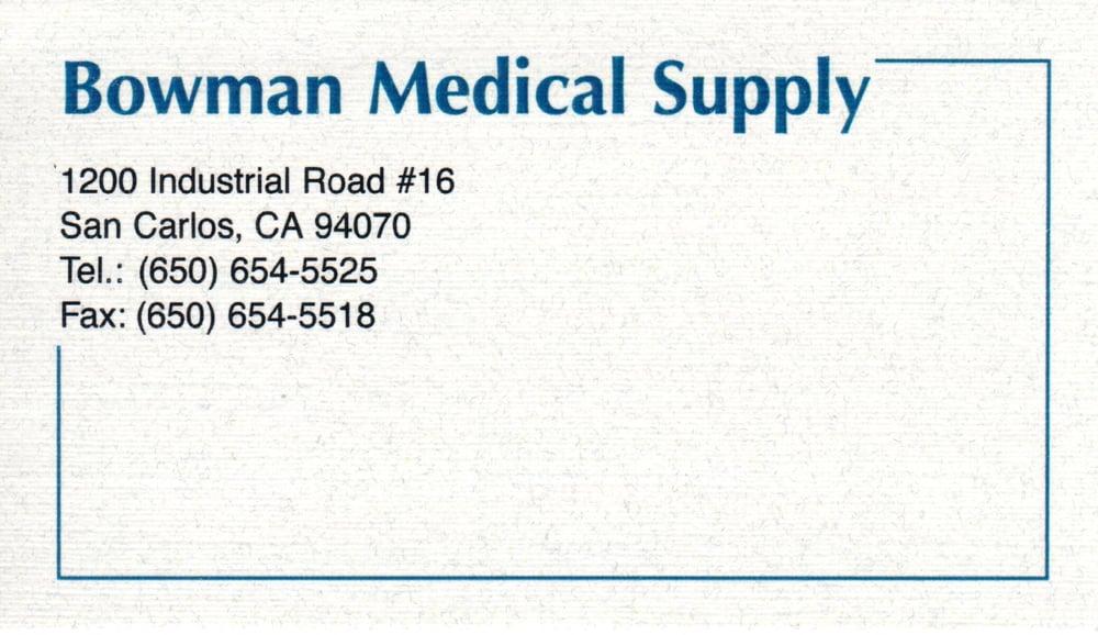 Bowman Medical Supply: 285 Old County Rd, San Carlos, CA