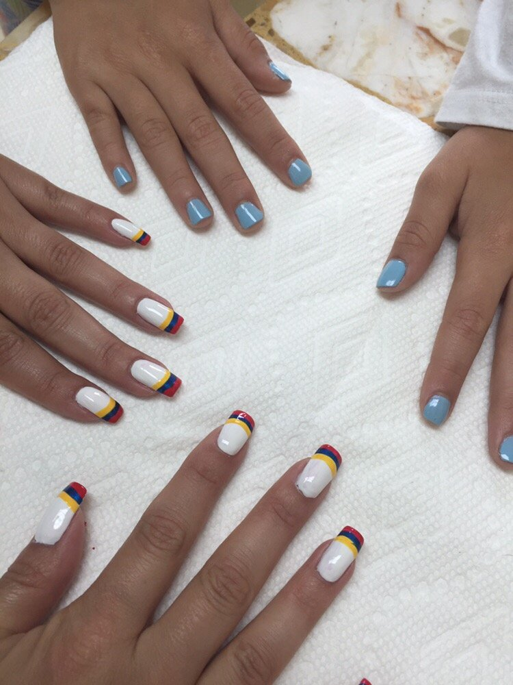 French manicure using regular nail polish in a form of Colombian ...