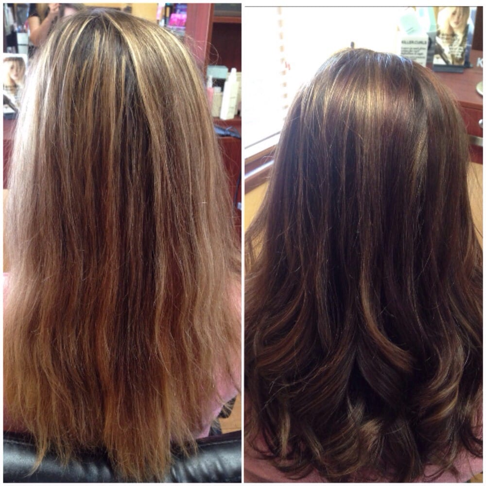 Color Melt With A Dark Tobacco Brown Auburn And Blonde Color By