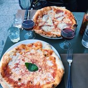Maria Luisa - Paris, France. Margarita pizza and house red wine