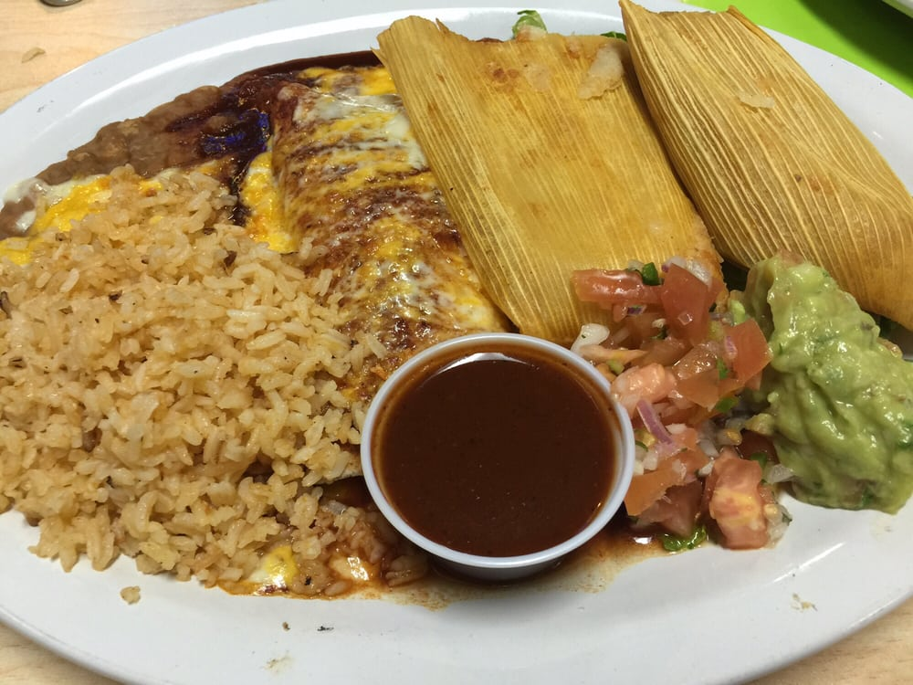 Chicken tamale and cheese enchilada in red sauce so good - Mexican american cuisine ...