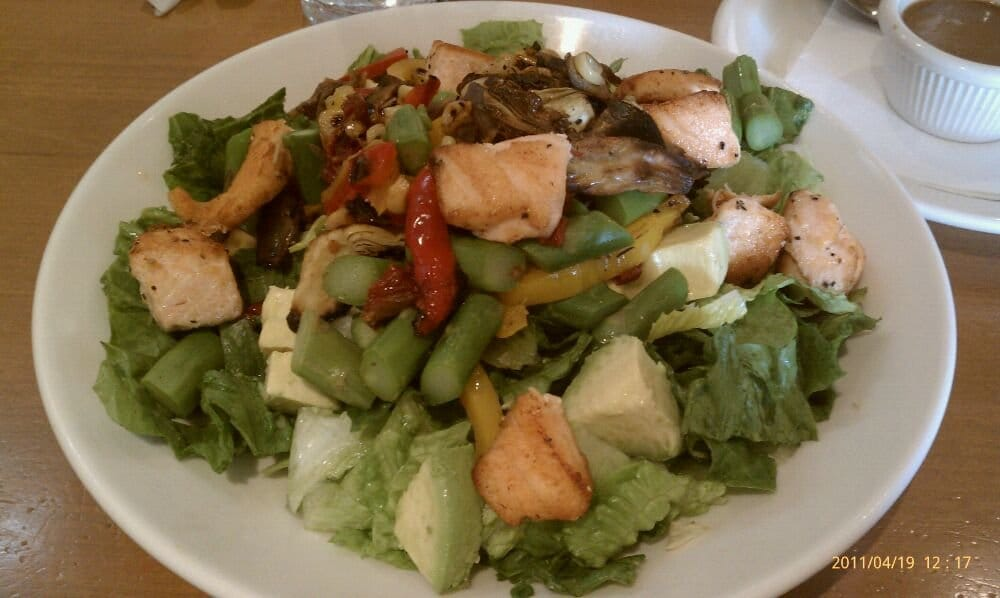 Roasted ve able salad with grilled salmon Yelp