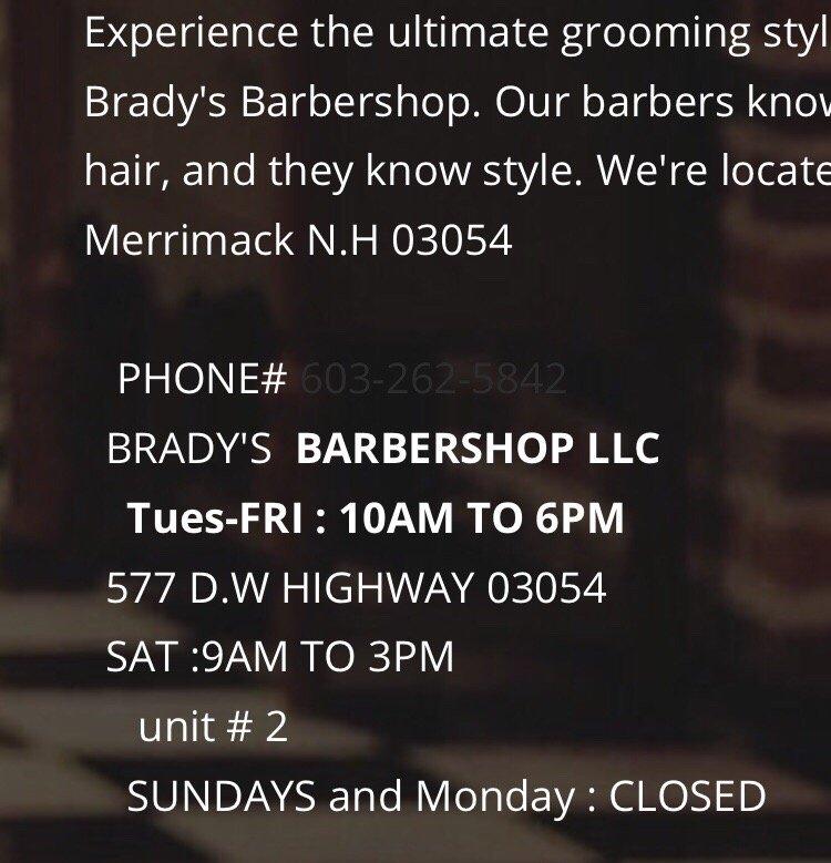 Brady's Barbershop: 577 Daniel Webster Hwy, Merrimack, NH
