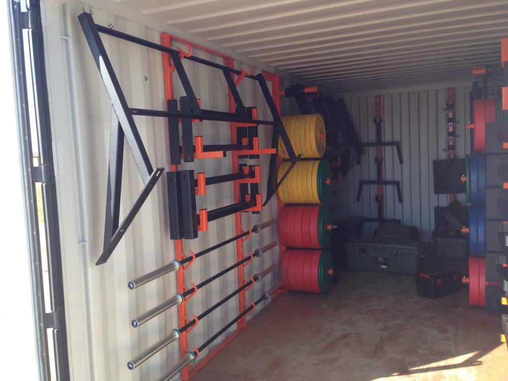A shipping container converted to gym storage for the usmc