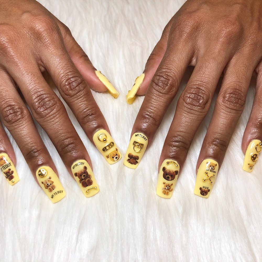 Japanese nail art with nail charms on gel extensions - Yelp