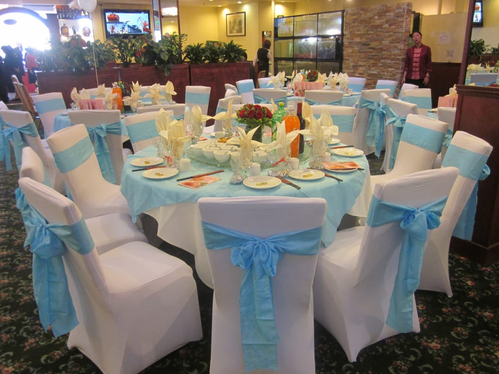 White Spandex Chair Covers With Light Blue Crinkled