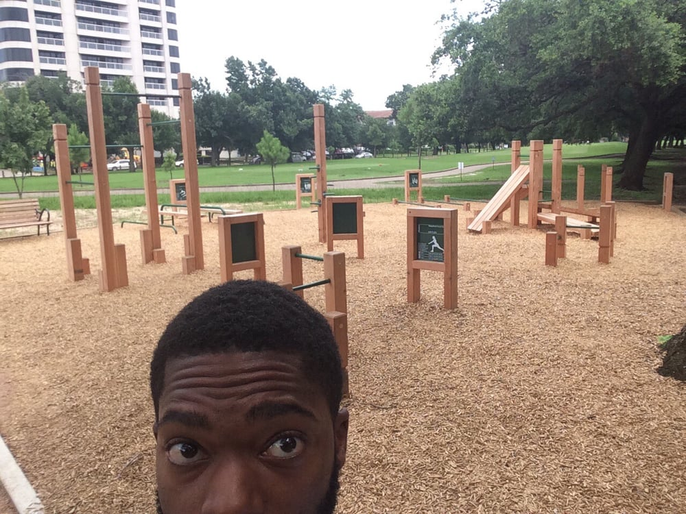 Roses In Garden: The Exercise Stations In Hermann Park. I'm Really Excited
