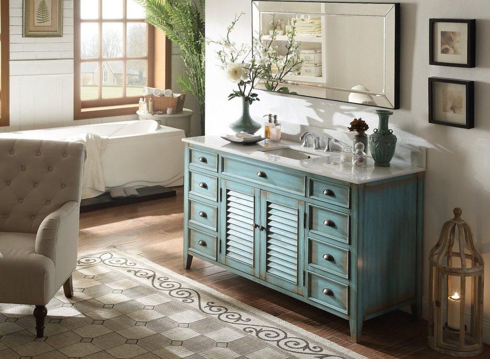 60 Single Sink Distressed Caribbean Blue Bathroom Vanity Yelp