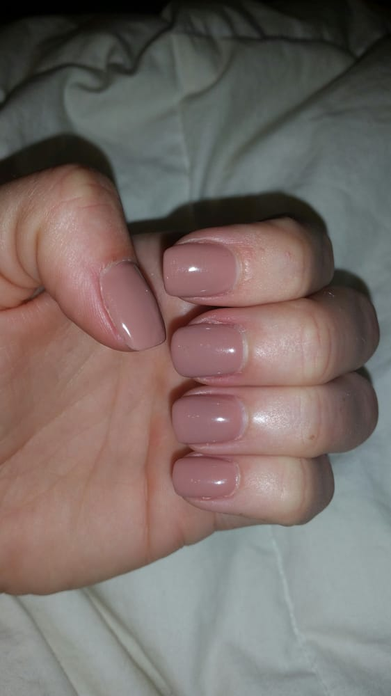 Butternut Squash gel polish on top of acrylic nails. For a fill in ...