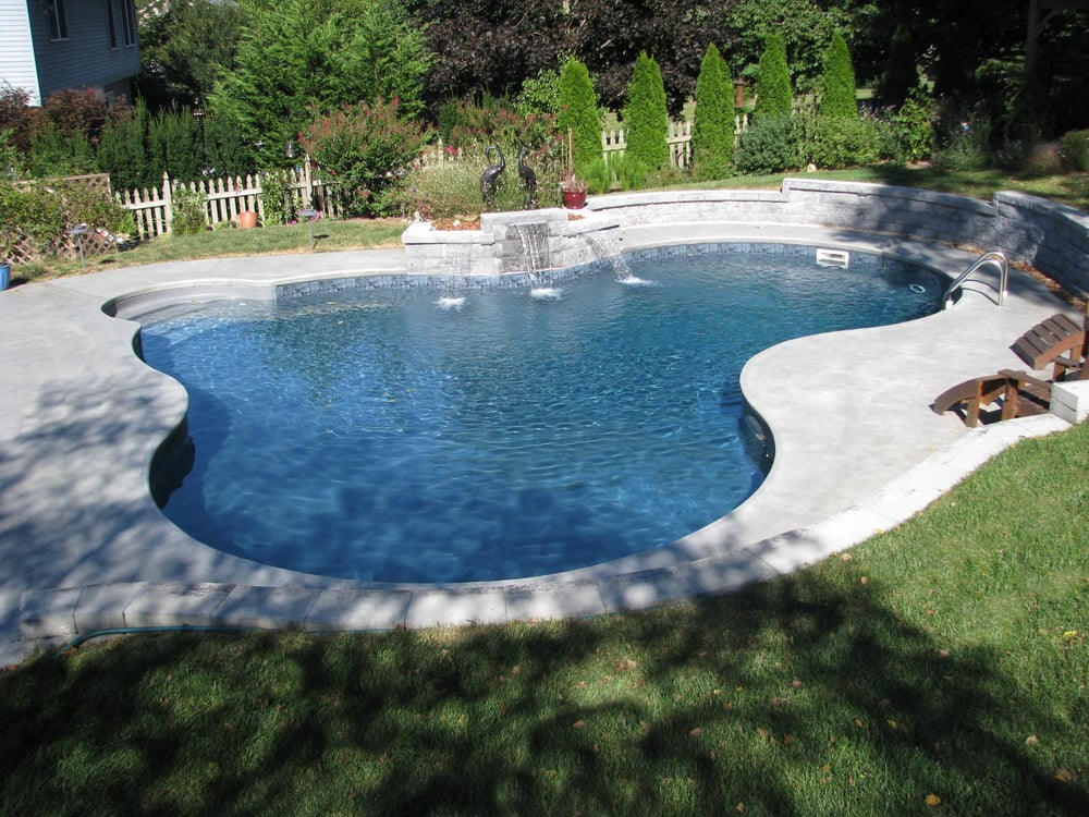 Lagoon Vinyl Liner Pool With Black Liner Water Features Retaining Wall Outdoor Lighting And