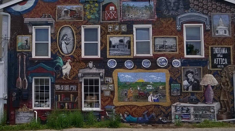 Attica Main Street Mural: 212 S Perry St, Attica, IN