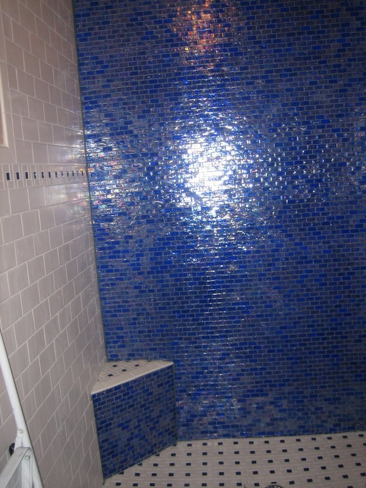 Tub to shower with stunning blue glass tile! - Yelp