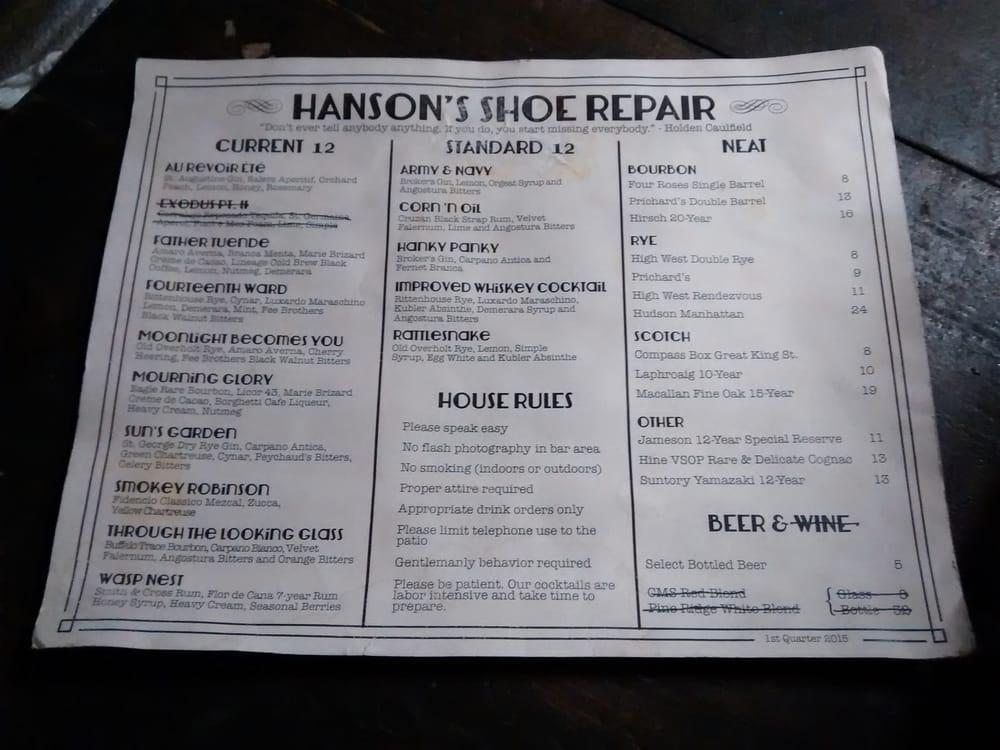 Hanson S Shoe Repair Menu